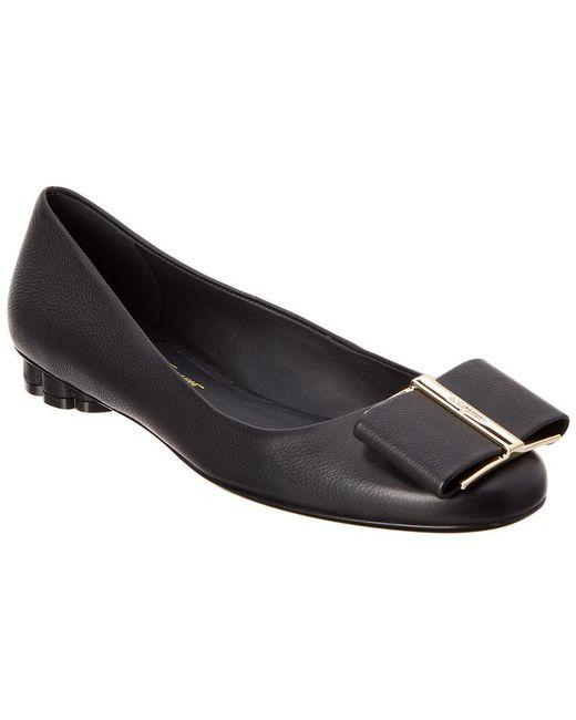 Ferragamo - Black Vara Bow Leather Ballet Flat - Lyst