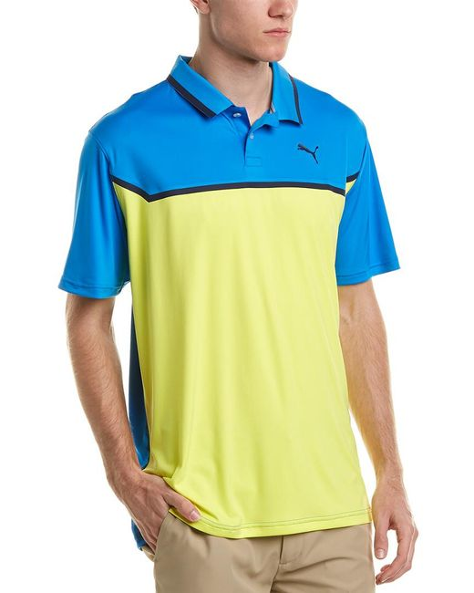 PUMA - Blue Bonded Tech Polo for Men - Lyst