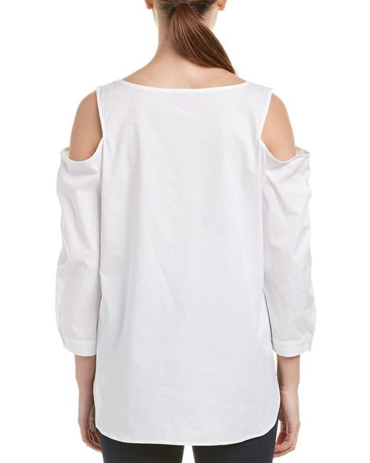 e025c3db28249 Lyst - NYDJ Agnes Cold-shoulder Top in White - Save 68%