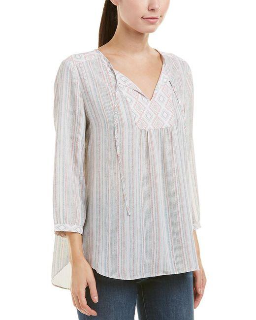 NYDJ - Gray Stripe Peasant Blouse - Lyst