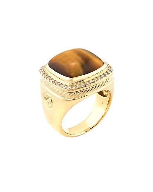 David Yurman - Metallic David Yurman Albion 18k 0.40 Ct. Tw. Diamond & Tiger's Eye Ring - Lyst