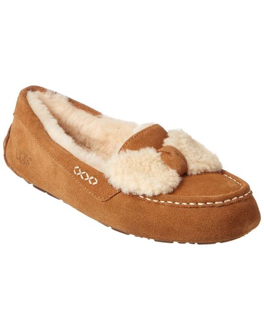UGG Ansley Fur Bow Loafer(Women's) -Geyser Suede For Nice Online Clearance New Prices Cheap Price Discount Amazon UzHL2