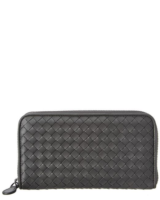 Bottega Veneta - Gray Intrecciato Nappa Leather Zip-around Wallet - Lyst
