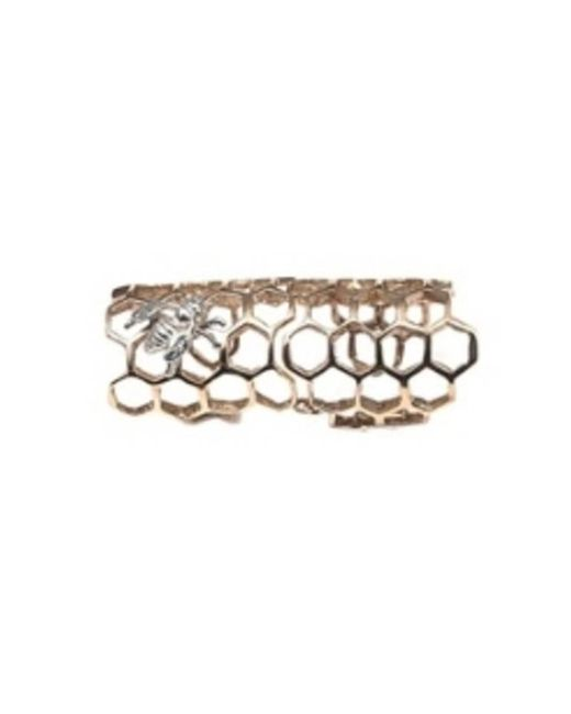 Bernard Delettrez | Metallic Bronze Articulated Honey Comb Ring With Silver Bee | Lyst