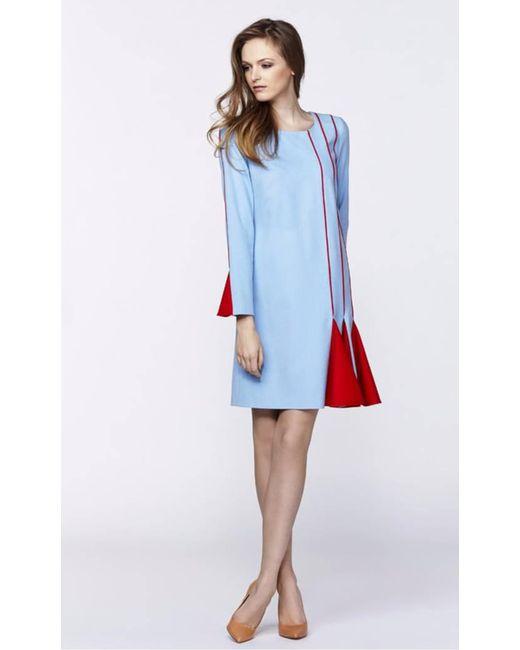 Plakinger - Blue Godet Long Sleeve Wool Dress - Lyst