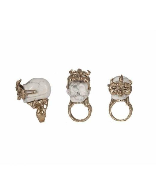 Bernard Delettrez | Metallic White Marble And Bronze Skull Ring | Lyst
