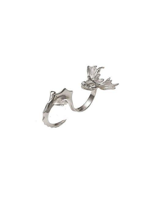 Bernard Delettrez | Metallic Dragon Two Finger Silver Ring | Lyst