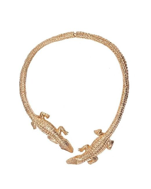 Bernard Delettrez | Metallic Double Crocodile Bronze Necklace | Lyst
