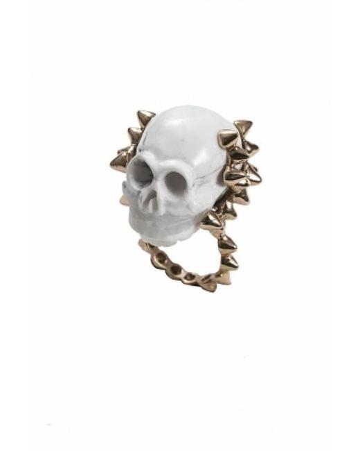 Bernard Delettrez | Metallic White Marble Skull With Bronze Studs | Lyst