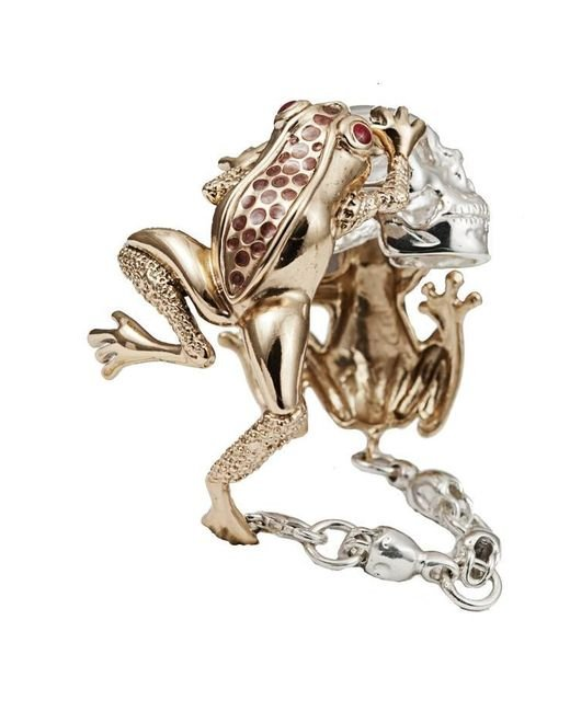 Bernard Delettrez | Metallic Dual Frogs And Skull Cuff | Lyst
