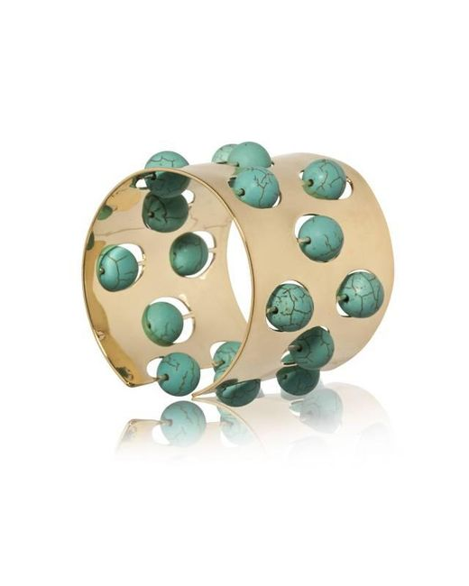 Yael Salomon | Blue Greta 04 Gold And Turquoise Cuff | Lyst