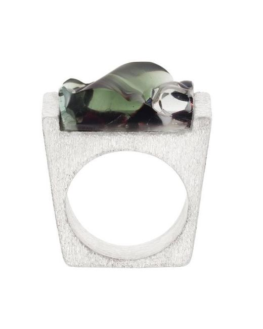 Pasionae | Black Murano Glass And Silver Ring | Lyst
