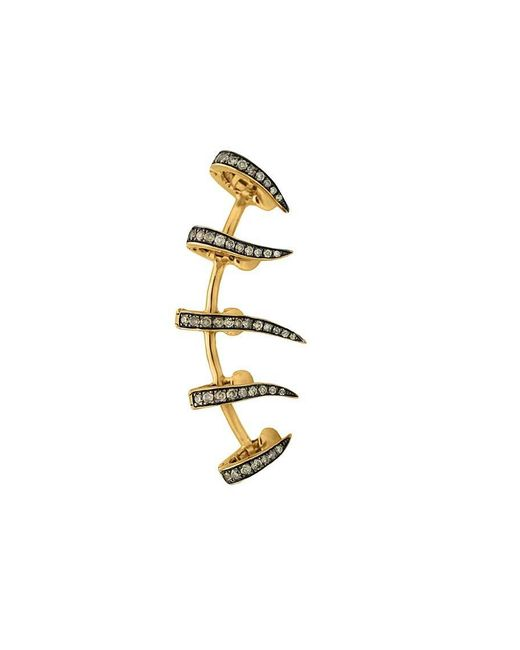 Christina Debs | Metallic Five Needles Pink Gold And Brown Diamond Ear Cuff | Lyst