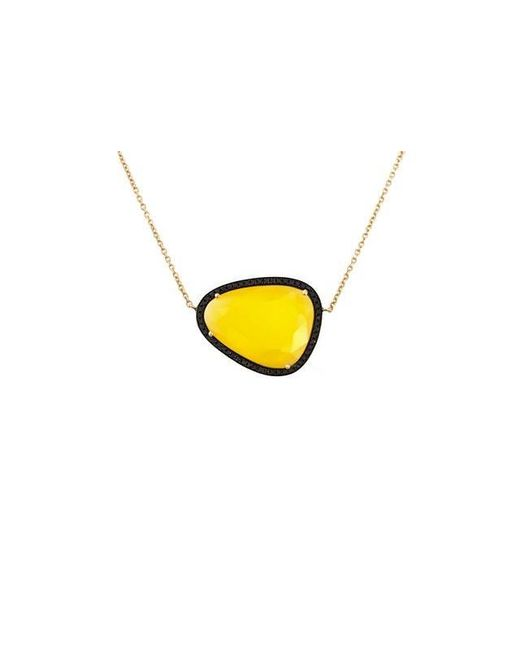 Christina Debs | Yellow Hard Candy Mango Agate And Black Diamond Necklace | Lyst