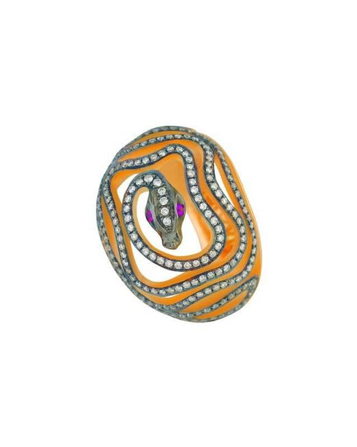 Christina Debs - Orange Snake Pink Gold And Diamond Ring - Lyst