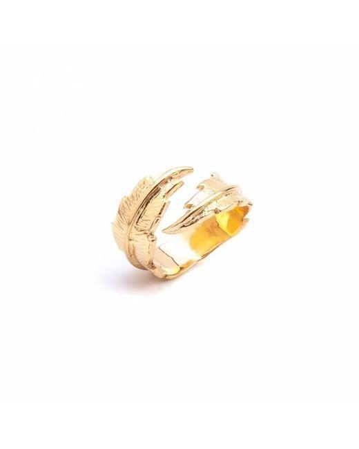 Leivan Kash | Metallic Feather Open Ring | Lyst
