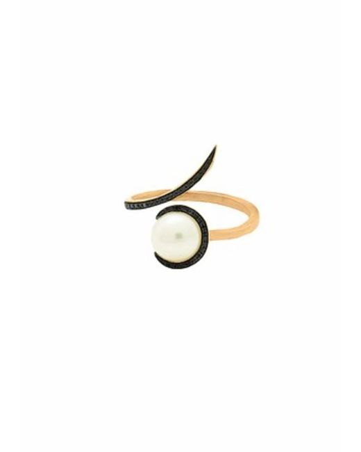 Christina Debs | Metallic Candy Pop Single Pearl And Black Diamond Ring | Lyst