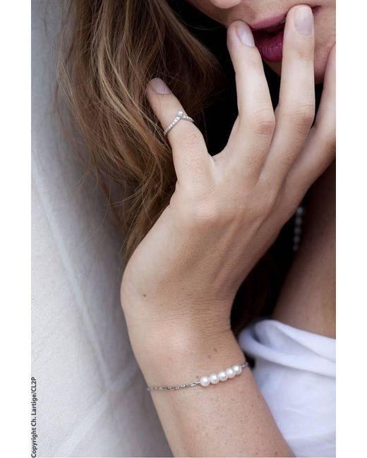 Karapetyan | Marie White Gold And 5 Pearl Bracelet | Lyst