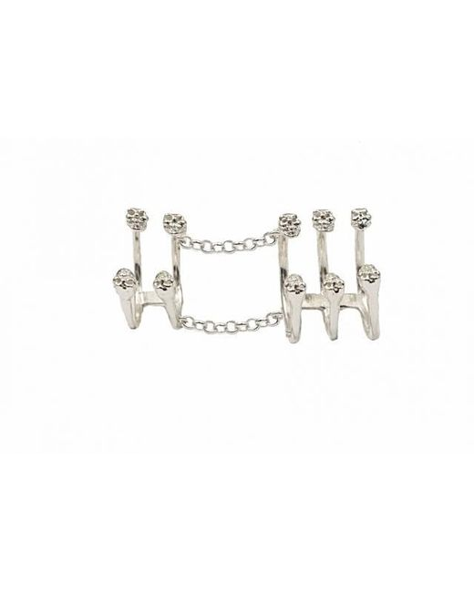 Bernard Delettrez | Metallic Silver Articulated Ring With 10 Skulls | Lyst