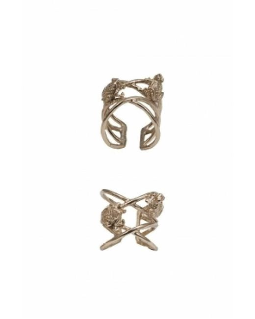 Bernard Delettrez | Metallic Bronze Criss Cross Ring With Frogs | Lyst