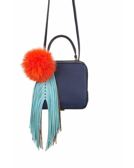 The Volon   Blue Navy Cube Shoulder Bag With Fridge & Pom Pom   Lyst
