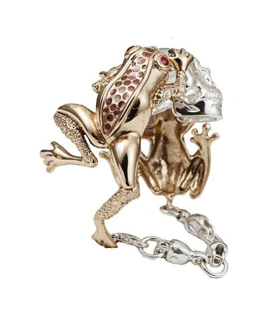 Bernard Delettrez | Metallic Dual Frogs And Skull Cuff | Lyst