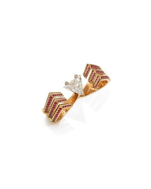 Stéphanie Deydier | Multicolor Crab Ruby And Diamond Two Finger Ring | Lyst