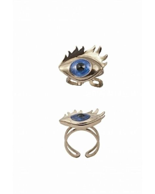 Bernard Delettrez | Metallic Bronze Ring With Blue Enamel Eye | Lyst