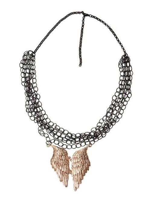 Bernard Delettrez | Black Silver Mesh And Angel Wing Necklace | Lyst