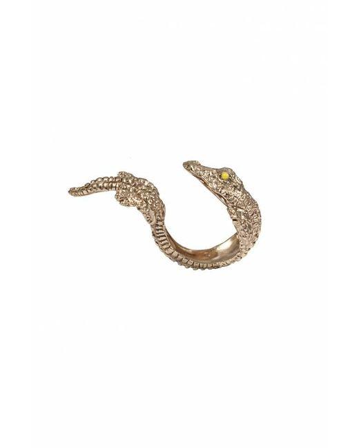 Bernard Delettrez | Metallic Bronze Crocodile Two Finger Ring | Lyst