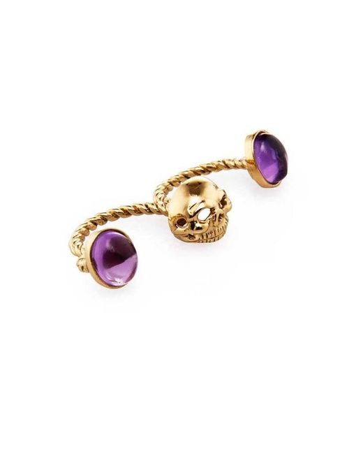 Bernard Delettrez - Metallic Skull Double Finger Ring With Amethysts - Lyst