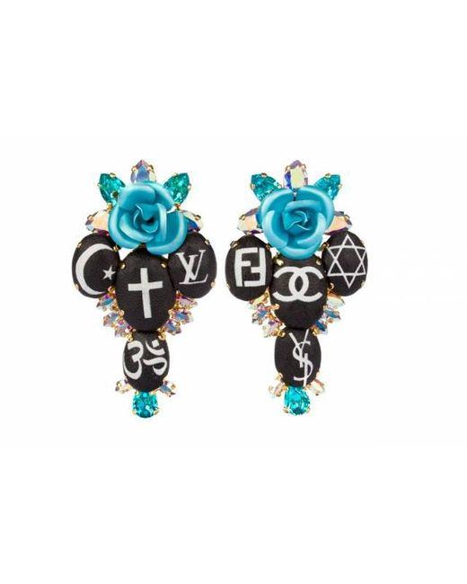 Bijoux De Famille | Blue Holy Fashion Rosary Cross Earrings | Lyst