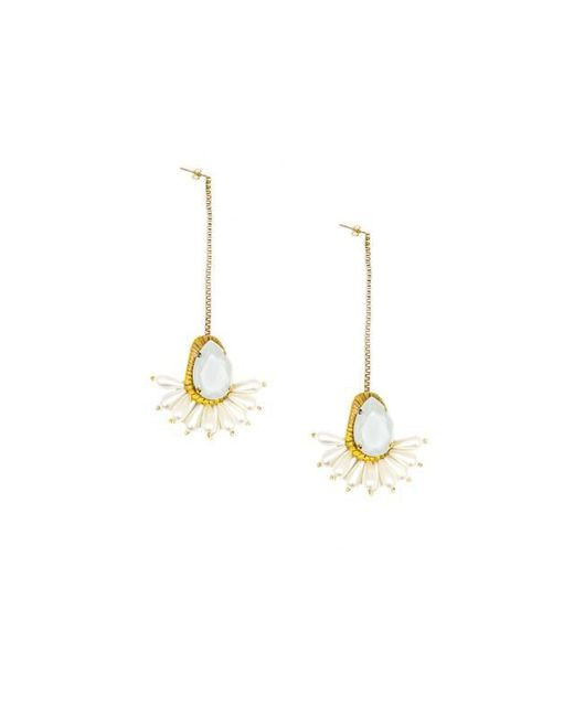 Vanina | White The Anjar Pendant Earrings | Lyst