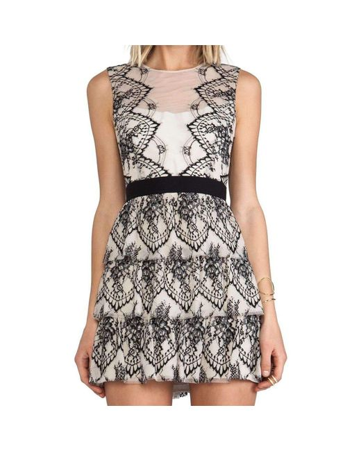 BCBGMAXAZRIA - Black Bcbg Maxazria Collier Sleeveless Scalloped Lace Dress - Lyst