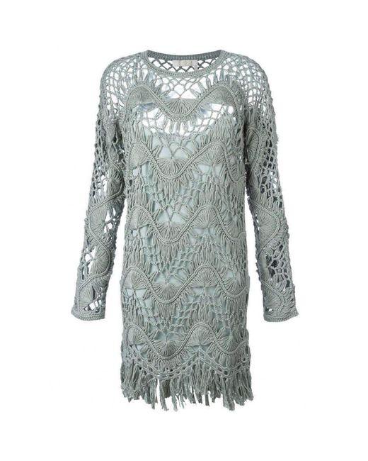 Chloé - Light Sea Green Cotton Silk Blend Macrame Dress - Lyst