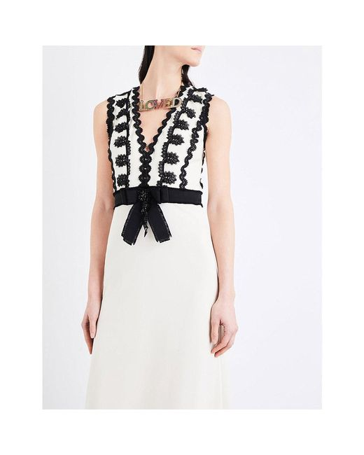 e3a26c5c2a80e ... Gucci - Multicolor Sleeveless Jersey V-neck Gown With Lace Trim - Lyst  ...