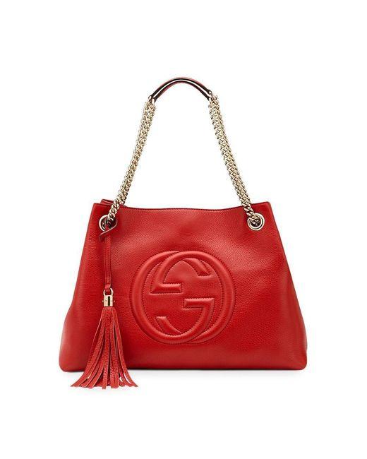 5dac2b9d2d53 Lyst - Gucci Soho Leather Medium Chain-strap Tote