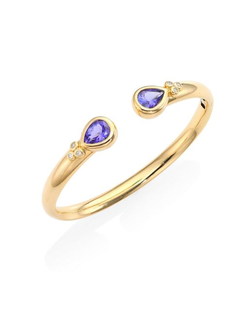 Temple St. Clair - Metallic Bella Diamond, Tanzanite & 18k Yellow Gold Bangle Bracelet - Lyst