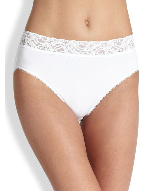 Wacoal | White Cotton Suede High-cut Brief | Lyst