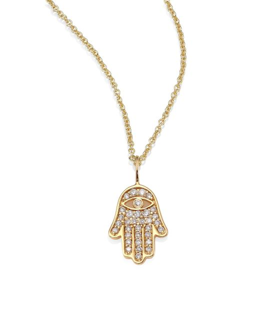 Sydney Evan - Metallic Mini Hamsa Pavé Diamond & 14k Yellow Gold Pendant Necklace - Lyst