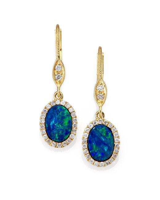 Meira T | Metallic Blue Opal, Diamond & 14k Yellow Gold Drop Earrings | Lyst
