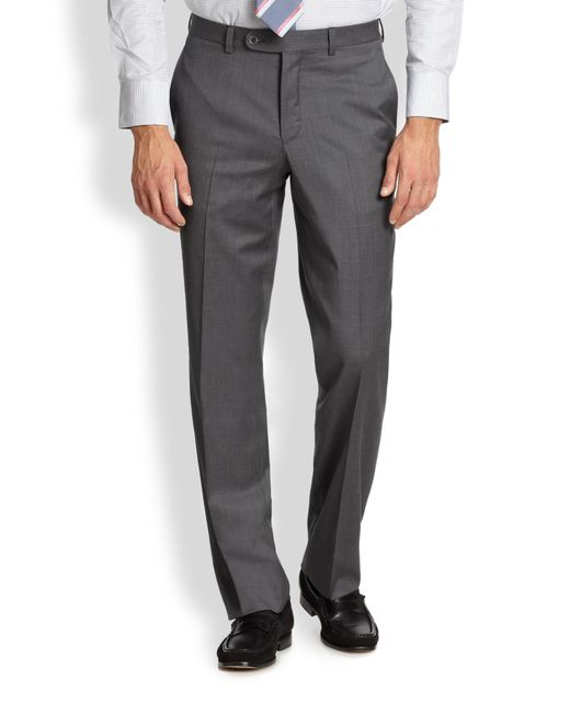 Saks Fifth Avenue | Gray Wool Dress Pants for Men | Lyst