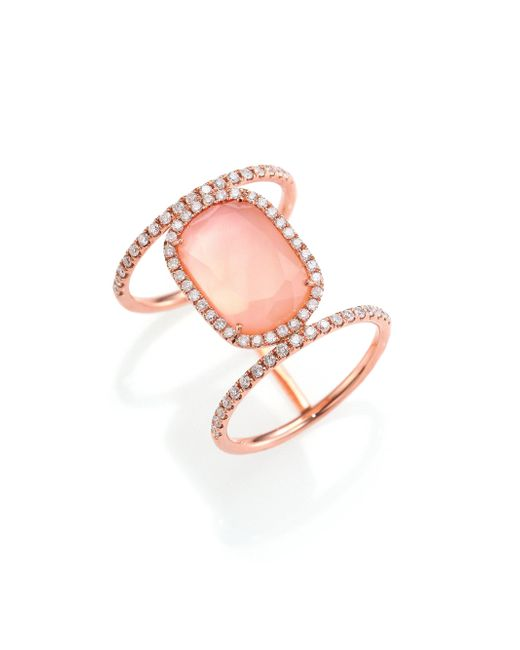 Meira T - Pink Rose Quartz, Mother-of-pearl, Diamond & 14k Rose Gold Ring - Lyst
