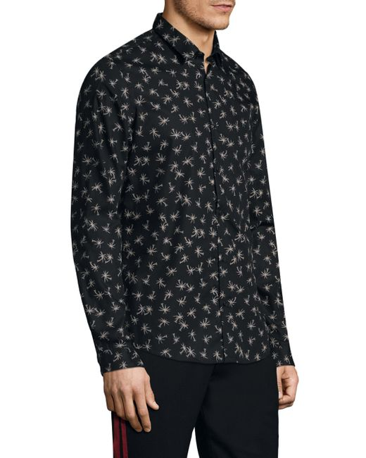 The Kooples Pine Tree Cotton Button Down Shirt In Black