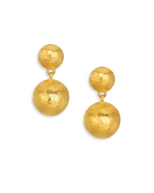Gurhan - Metallic Lentil Hammered 24k Yellow Gold Drop Earrings - Lyst