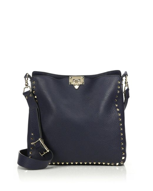 Valentino | Blue Rockstud Utilitarian Medium Leather Crossbody Bag | Lyst