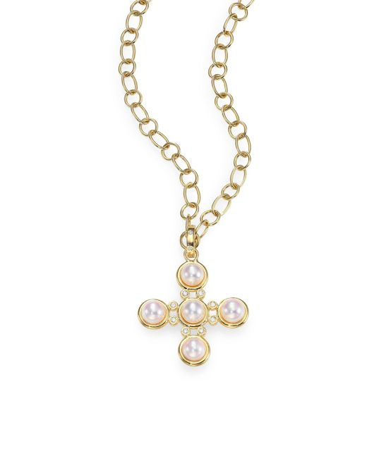 Temple St. Clair | Metallic Small Classic 5mm White Pearl & Diamond Five-stone Cross Pendant | Lyst