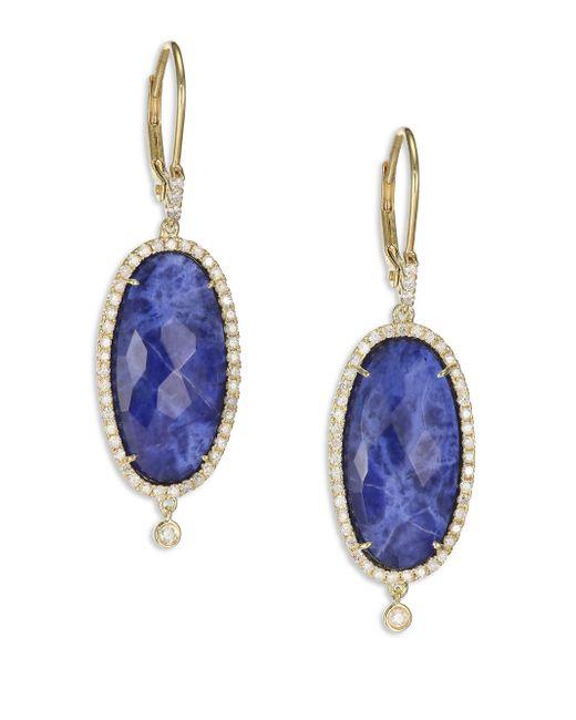 Meira T | Metallic Sodalite, Diamond & 14k Yellow Gold Drop Earrings | Lyst