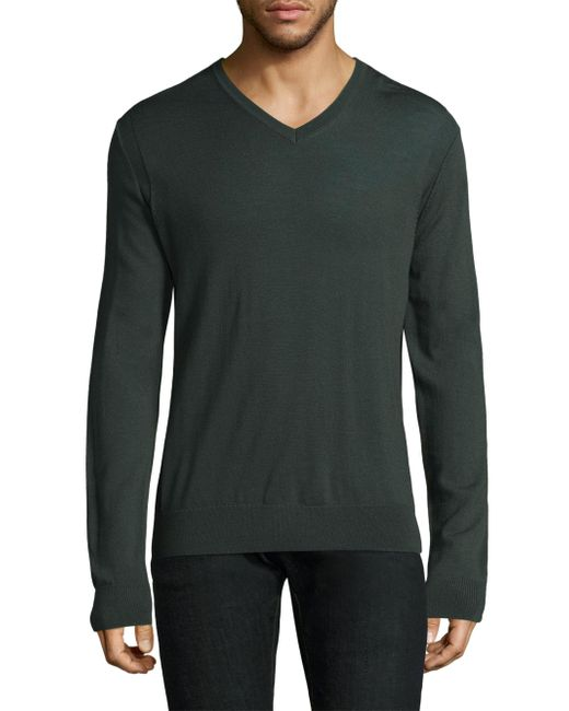 Michael Kors | Green Merino Wool V-neck Sweater for Men | Lyst