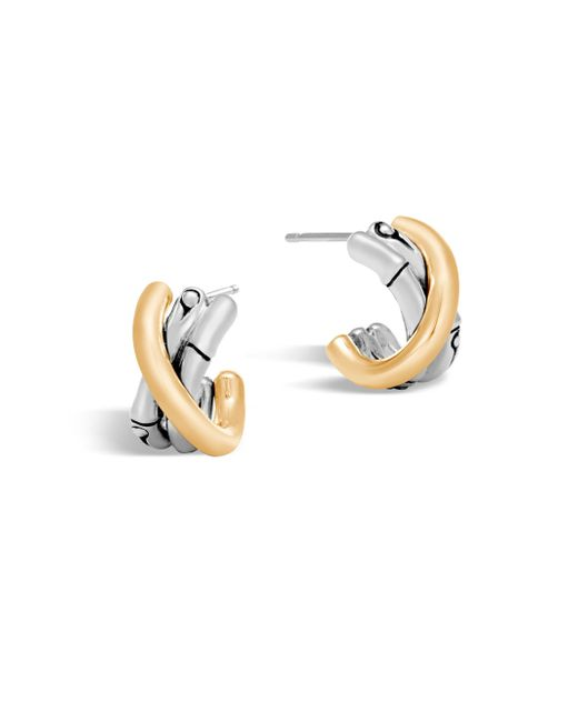 John Hardy - Metallic Bamboo 18k Gold & Silver J Hoop Earrings - Lyst